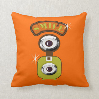 Orange and Green Retro Photography Camera SMILE Cushion