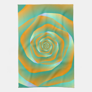 Orange and Green Spiral Rose Kitchen Towel