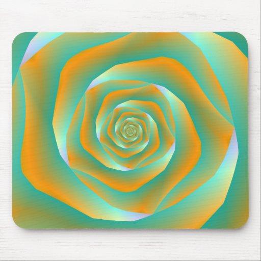 Orange and Green Spiral Rose Mousepad