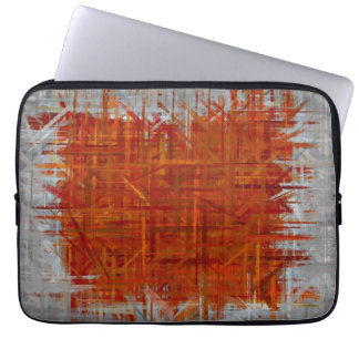 Orange and Grey Abstract Art Painting Laptop Sleeve