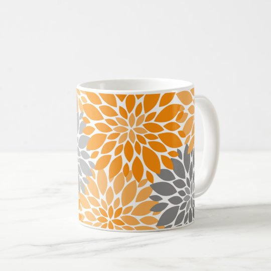 Orange and Grey Chrysanthemums Floral Pattern Coffee Mug