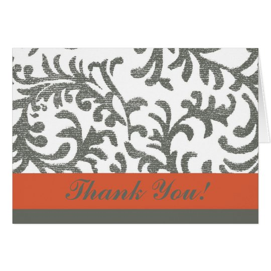 Orange and Grey Floral Thank You Card