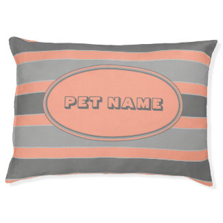 Orange and grey Personalized dog bed stripes