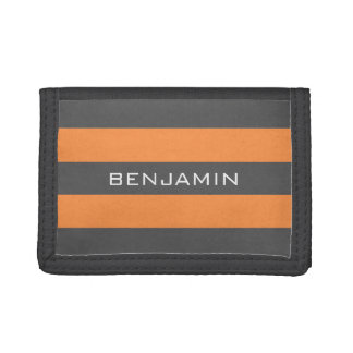 Orange and Grey Rugby Stripes with Custom Name Trifold Wallet