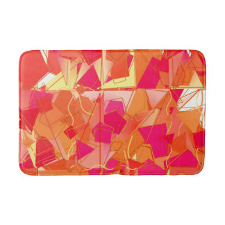 Orange and Hot Pink Abstract Bath Mat