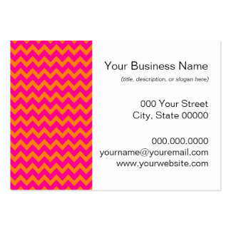 Orange and Hot Pink Chevron Pattern Business Card Templates