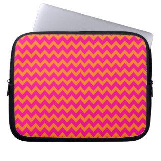 Orange and Hot Pink Chevron Pattern Laptop Sleeve