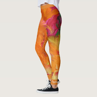 Orange and Hot Pink Feathers, Personalized Name Leggings