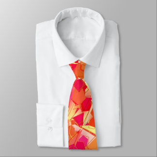 Orange and Hot Pink, Kadinsky Inspired Abstract Tie