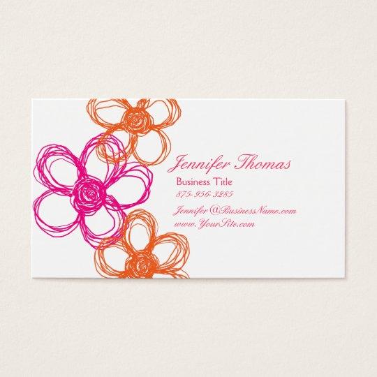 Orange and Hot Pink Wildflower Wedding Planner Business Card