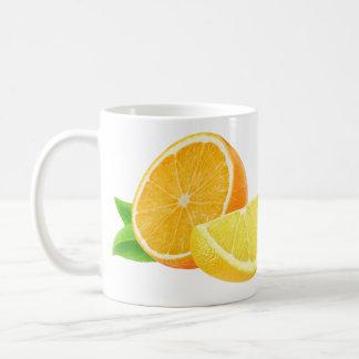 Orange and lemon basic white mug