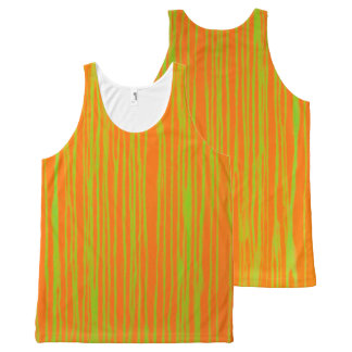 Orange and Lime Stripes Tank T by JP Choate