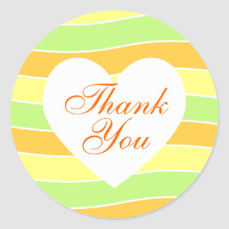 Orange and Lime Yellow Wavy Stripe Thank You Round Sticker