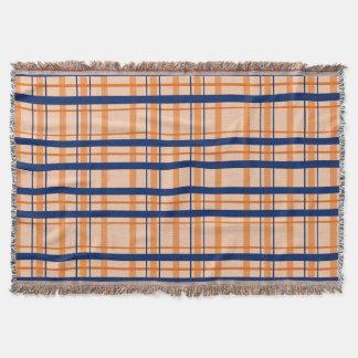 Orange and Navy Blue Throw Blanket