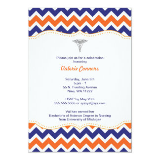 Orange and Navy Chevron Nurse Graduation Invite RN