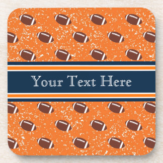 Orange and Navy Footballs Beverage Coasters