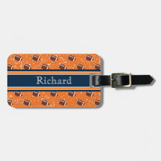 Orange and Navy Luggage Tag