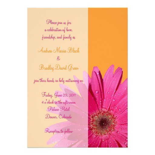 Orange and Pink Gerbera Daisy Wedding Invitation
