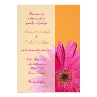 Orange and Pink Gerbera Daisy Wedding Invitation
