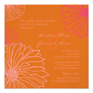 Orange and Pink Mum Flowers Wedding Invitation