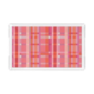 Orange and Pink Plaid Tartan Vanity Tray