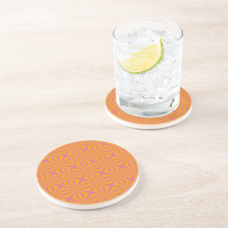 Orange and Pink Quilted Pattern Coaster