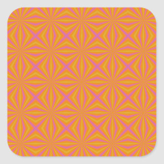 Orange and Pink Quilted Pattern Square Sticker