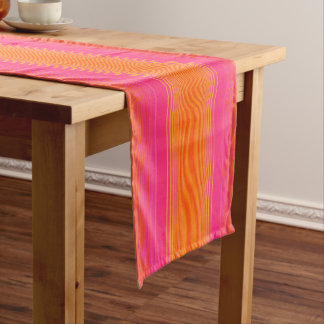Orange and Pink Striped Pattern Short Table Runner