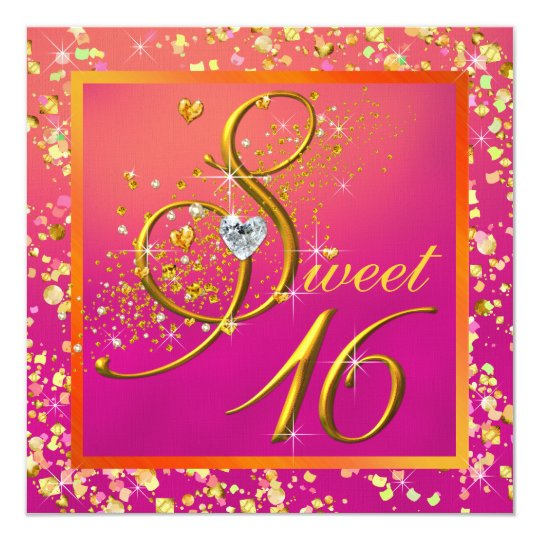 Orange and Pink Sweet Sixteen Party Card