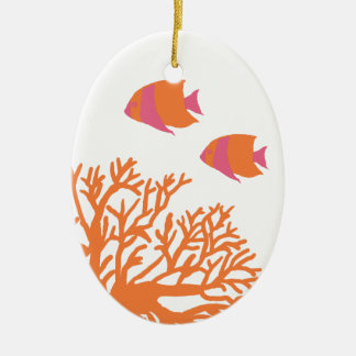 Orange and Pink Tropical Coral and Angelfish Ceramic Oval Decoration