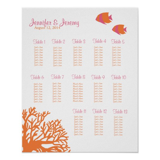 Orange and Pink Tropical Fish Seating Chart