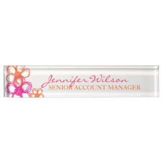 Orange and Pink Wild Flowers Name Plate