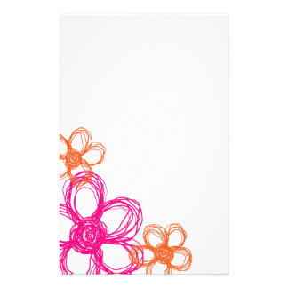 Orange and Pink Wild Flowers Stationery