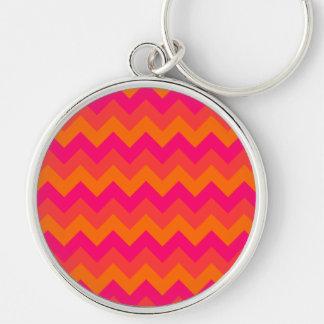 Orange and Pink Zigzag Key Ring