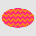 Orange and Pink Zigzag Oval Stickers