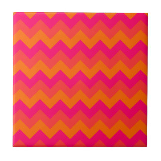 Orange and Pink Zigzag Small Square Tile