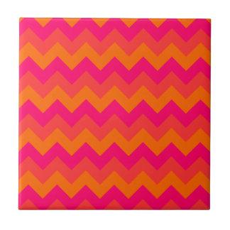 Orange and Pink Zigzag Tile