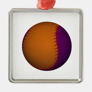 Orange and Purple Baseball Silver-Colored Square Decoration