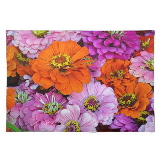 Orange and purple dahlia flowers placemat