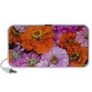 Orange and purple dahlia flowers travel speakers