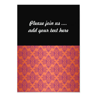 Orange and Purple Damask 13 Cm X 18 Cm Invitation Card