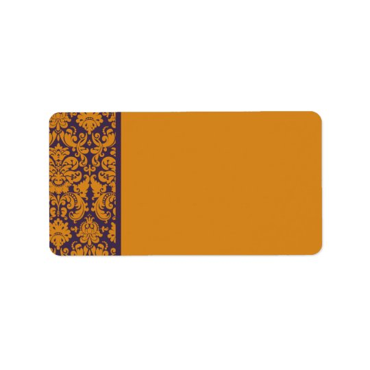 Orange and Purple Damask Address Label Blank