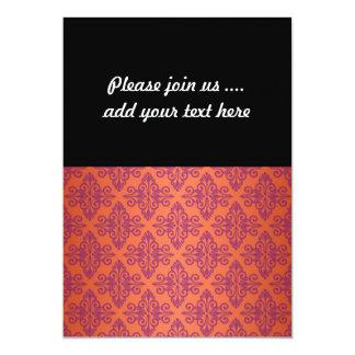 Orange and Purple Damask 13 Cm X 18 Cm Invitation Card
