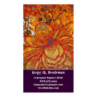 Orange and Purple Floral Modern Pop Art Business Card