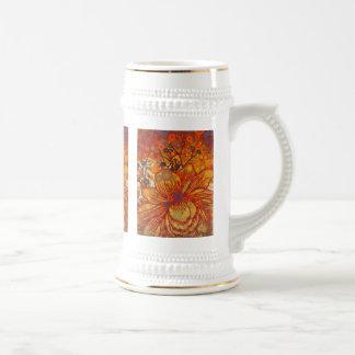 Orange and Purple Floral Modern Pop Art Coffee Mug