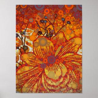 Orange and Purple Floral Modern Pop Art Print