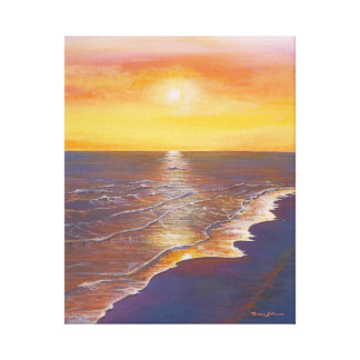 "Orange and Purple Seascape 20"" x 16"", 1.5"", Single Canvas Print"