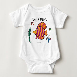 Orange and Purple Tropical Fish with Seahorses Baby Bodysuit