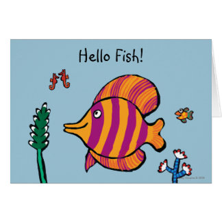 Orange and Purple Tropical Fish with Seahorses Card