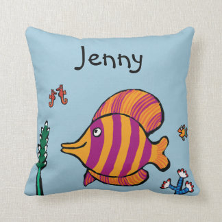 Orange and Purple Tropical Fish with Seahorses Cushion
